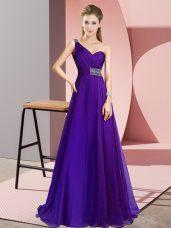 Purple Sleeveless Beading Criss Cross Dress Like A Star