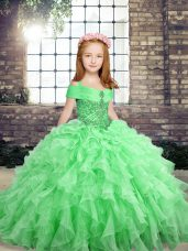 Pretty Sleeveless Floor Length Beading and Ruffles Lace Up Little Girls Pageant Dress