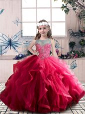 Coral Red Lace Up Scoop Beading and Ruffles Pageant Gowns For Girls Tulle Sleeveless