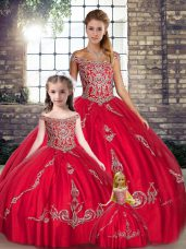 Superior Red Sleeveless Tulle Lace Up Quince Ball Gowns for Military Ball and Sweet 16 and Quinceanera