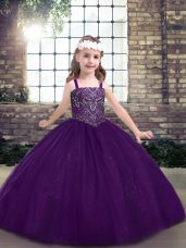 Eggplant Purple Sleeveless Floor Length Beading Lace Up Little Girls Pageant Gowns