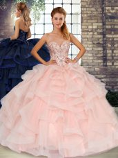 Baby Pink Lace Up Sweetheart Beading and Ruffles Quinceanera Gowns Tulle Sleeveless