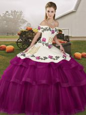 Tulle Sleeveless Sweet 16 Dresses Brush Train and Embroidery and Ruffled Layers
