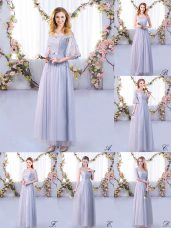 High Quality Grey Half Sleeves Floor Length Lace and Belt Side Zipper Wedding Guest Dresses