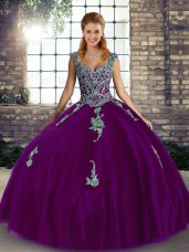 Purple Straps Neckline Beading and Appliques 15 Quinceanera Dress Sleeveless Lace Up