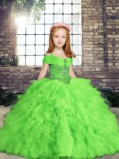 Ball Gowns Beading and Ruffles Kids Formal Wear Lace Up Tulle Sleeveless Floor Length