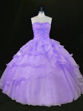 Lavender Organza Quince Ball Gowns Sleeveless Floor Length Beading and Ruffles