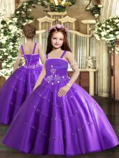 Modern Purple Sleeveless Tulle Lace Up Teens Party Dress for Party and Sweet 16 and Wedding Party