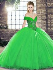 Green Ball Gowns Off The Shoulder Sleeveless Organza Brush Train Lace Up Beading Quinceanera Dress