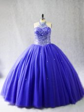 Noble Blue Halter Top Lace Up Beading Quinceanera Gowns Brush Train Sleeveless