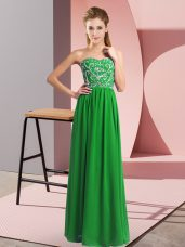 Hot Sale Green Sweetheart Lace Up Beading Prom Dresses Sleeveless