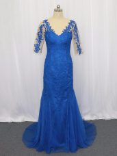 3 4 Length Sleeve Tulle Brush Train Zipper Prom Evening Gown in Blue with Lace and Appliques