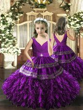 Stylish Floor Length Eggplant Purple Pageant Gowns V-neck Sleeveless Backless
