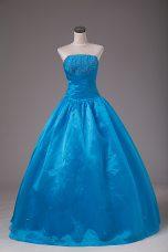 Blue Sleeveless Beading Floor Length Quinceanera Dresses