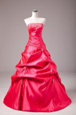 Beading and Appliques Vestidos de Quinceanera Hot Pink Lace Up Sleeveless Floor Length