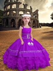 Purple Child Pageant Dress Wedding Party with Embroidery and Ruffled Layers Straps Sleeveless Zipper