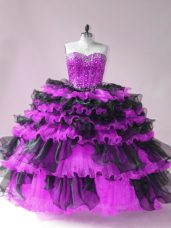 Floor Length Ball Gowns Sleeveless Black And Purple Quinceanera Gowns Lace Up
