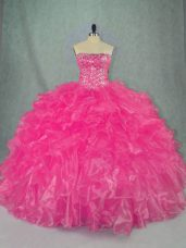 Beauteous Organza Sleeveless Floor Length Ball Gown Prom Dress and Beading and Ruffles