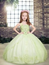 Hot Sale Floor Length Lace Up Child Pageant Dress Yellow Green for Party and Military Ball and Wedding Party with Beading