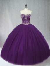 Simple Sweetheart Sleeveless Lace Up Sweet 16 Quinceanera Dress Purple Tulle