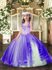 Lavender Party Dress for Toddlers Party and Wedding Party with Beading Straps Sleeveless Lace Up
