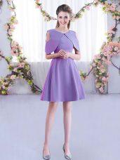Scoop Half Sleeves Zipper Dama Dress for Quinceanera Lavender Chiffon