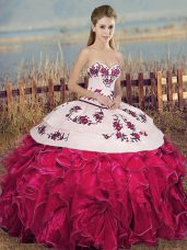 Cheap Fuchsia Ball Gowns Organza Sweetheart Sleeveless Embroidery and Ruffles and Bowknot Floor Length Lace Up Quinceanera Gown
