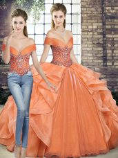 Two Pieces 15 Quinceanera Dress Orange Off The Shoulder Organza Sleeveless Floor Length Lace Up
