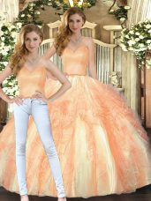 Luxurious Orange Sleeveless Floor Length Beading and Ruffles Lace Up Quinceanera Dresses
