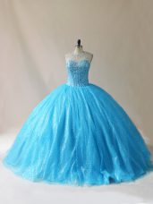 Floor Length Baby Blue Quinceanera Dress Organza Court Train Sleeveless Beading and Appliques