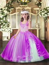 Lilac Womens Party Dresses Party and Sweet 16 and Wedding Party with Beading Straps Sleeveless Lace Up