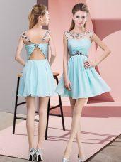 Inexpensive Mini Length Light Blue Cocktail Dress Chiffon Sleeveless Beading and Ruching