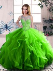 Ideal Scoop Sleeveless Quinceanera Dresses Beading and Ruffles Green Tulle