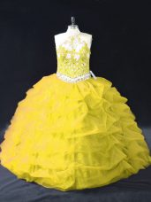 Free and Easy Gold Ball Gowns Appliques and Pick Ups Quinceanera Dress Backless Organza Sleeveless Floor Length
