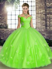 Hot Selling Sleeveless Floor Length Beading and Appliques Lace Up Quince Ball Gowns with
