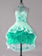 Stylish Turquoise Lace Up Strapless Embroidery and Ruffles Dress for Prom Satin and Organza Sleeveless