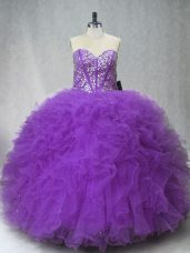 Sweetheart Sleeveless Vestidos de Quinceanera Floor Length Beading and Ruffles Purple Tulle