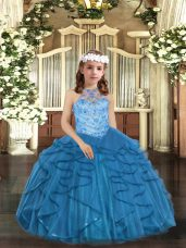 Floor Length Lace Up Girls Pageant Dresses Blue for Party and Wedding Party with Beading and Ruffles