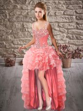 Elegant Watermelon Red A-line Beading and Ruffled Layers Pageant Dress Lace Up Organza Sleeveless High Low