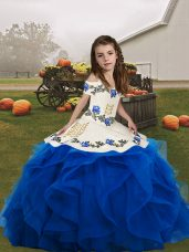 Blue Lace Up Womens Party Dresses Embroidery and Ruffles Sleeveless Floor Length