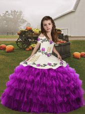 Floor Length Lace Up Little Girl Pageant Dress Purple for Party and Wedding Party with Embroidery and Ruffled Layers