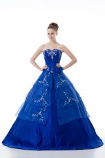 Graceful Organza V-neck Sleeveless Lace Up Embroidery and Ruffled Layers Quinceanera Dress in Royal Blue