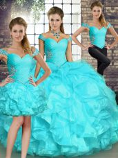 Hot Sale Aqua Blue Three Pieces Organza Off The Shoulder Sleeveless Beading and Ruffles Floor Length Lace Up Quinceanera Dress