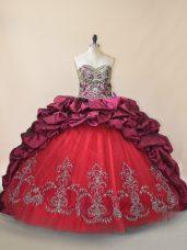 Fine Fuchsia Lace Up Sweetheart Beading and Pick Ups Ball Gown Prom Dress Taffeta and Tulle Sleeveless Brush Train