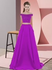 Ideal Purple Backless Prom Party Dress Beading Sleeveless Sweep Train
