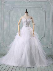 White Sleeveless Organza Brush Train Zipper Wedding Dresses for Wedding Party