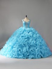 Enchanting Straps Sleeveless Court Train Zipper Vestidos de Quinceanera Baby Blue Fabric With Rolling Flowers