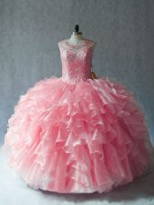 High Class Pink Ball Gowns Organza Scoop Sleeveless Beading and Ruffles Lace Up Quinceanera Gowns
