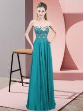 Beading Prom Dress Teal Zipper Sleeveless Floor Length