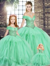 Deluxe Apple Green Tulle Lace Up Off The Shoulder Sleeveless Floor Length Sweet 16 Dress Beading and Ruffles